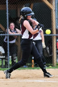 Kings Park outfielder Kristen Plant makes contact in the Kingsmen's 6-3 loss to Longwood in the first round of the Class AA playoffs on May 18. Photo by Bill Landon