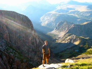 Michael D'Emic enjoys a Lord of the Rings moment in Beartooth, Wyoming, near an excavation site in 2010. Photo from D'Emic.