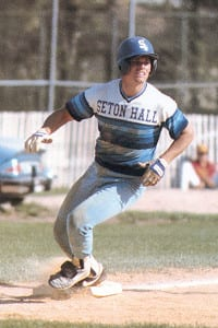 A young Craig Biggio rounds the bases for Seton Hall University. Photo from Seton Hall