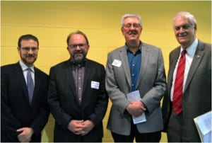 From left, Sean Mahar of NY Audubon, George Hoffman of the Setauket Harbor Task Force, Curt Johnson of the LI Sound Study CAC and state Assemblyman Steve Englebright meet at a recent meeting of LISS. Photo from George Hoffman