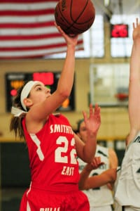 Smithtown East Abby Zeitsiff scores a layup in the Bulls' 54-50 win over Lindenhurst in a nonleague matchup on Jan. 2. Photo by Bill Landon