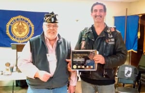 Blanco poses with Post American Legion Post 1244 Commander Dennis Madden. Photo from Bob Santo.