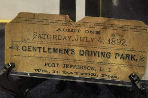 The Cumsewogue Historical Society has a ticket to the Gentlemen's Driving Park from July 4, 1892. Photo by Elana Glowatz