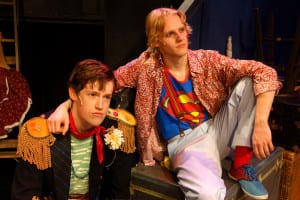 Hans Paul Hendrickson as Jesus and Patrick O'Brien as Judas in a scene from 'Godspell.' Photo by Peter Lanscombe, Theatre Three Productions Inc.