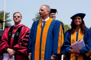 The university granted honorary degrees to Eric Holder and Soledad O'Brien (pictured with SBU President Samuel L. Stanley Jr.). Photo by Greg Catalano