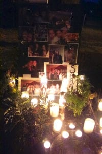 Above, a scene from a candlelight vigil where friends of 23-year-old Sarah Strobel gathered. Photo from Taylor Friedman