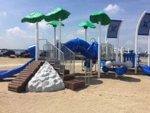 The new playground at Hobart Beach is ready for business. Photo by Ted Ryan