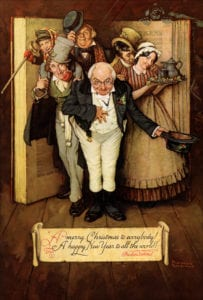 Norman Rockwell's 'A merry Christmas to everybody! A happy New Year to all the world!' (aka 'World of Charles Dickens'), 1937; Mort Künstler Collection. Courtesy Norman Rockwell Family Agency. Image from The Heckscher Museum of Art