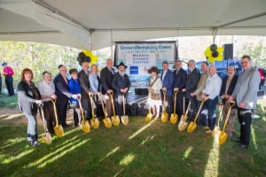 Members of Chabad at Stony Brook join with community leaders to ceremoniously break ground. Photo from Motti Grossbaum