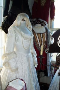 Nan Guzzetta's medieval costumes with headpieces. Photo by Ellen Barcel