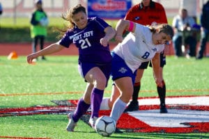 Mikayla Yannucci battles for the ball. Photo by Andrew Wakefield